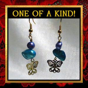 Blue Pearl Golden Butterfly Earrings #229